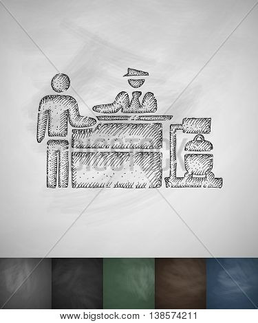 Inspection at the airport icon. Hand drawn vector illustration. Chalkboard Design