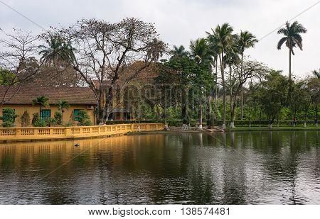 HA NOI, VIET NAM, March 12, 2016 fish pond, relic of president Ho Chi Minh, in central Ha Noi, Vietnam