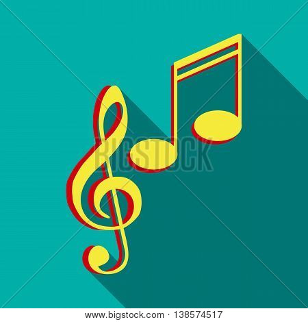 Music key and notes icon in flat style on a turquoise background