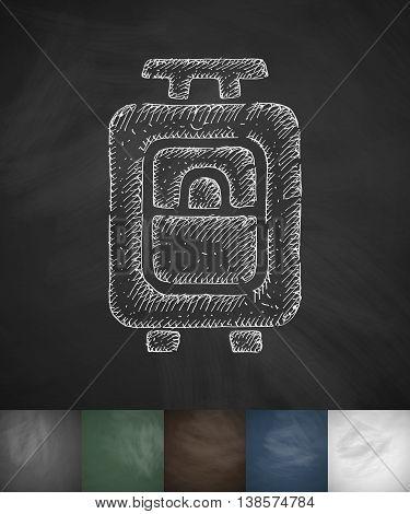 suitcase icon. Hand drawn vector illustration. Chalkboard Design