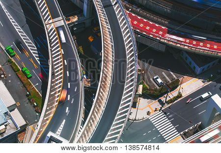Aerial View Of A Massive Highway Intersection In Tokyo, Japan