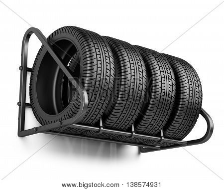 Tires set for sale at a tire store on the wall. 3d image isolated on a white background.