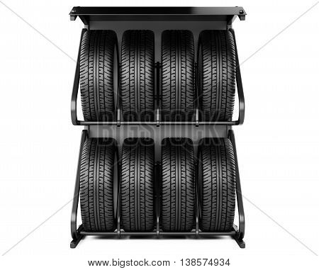 Summer and winter tires set for sale at a tire store front viev. 3d image isolated on a white background.