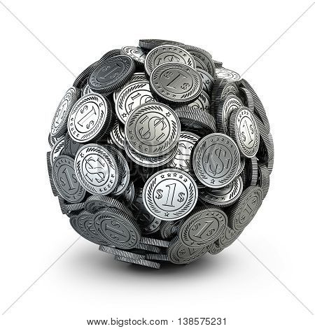Silver coins assembled in a form sphere on a grey background. Business success concep 3d.