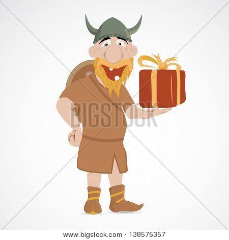 Funny cartoon viking holding wrapped present box