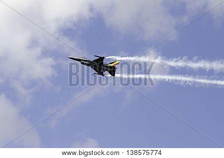 Aerobatic F16 smoke wings Athens Greece Tatoi airport 2015 Sep