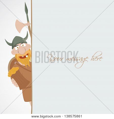 Funny cartoon viking with beer emerge from the banner