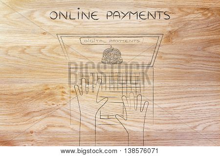 Digital Payment Laptop With Electronic Coin Purse And Hands Typing