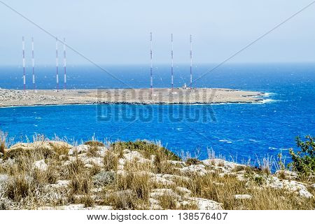 25 may 2016.Cape Greco.radio antennas at Cape Greco . Cyprus.