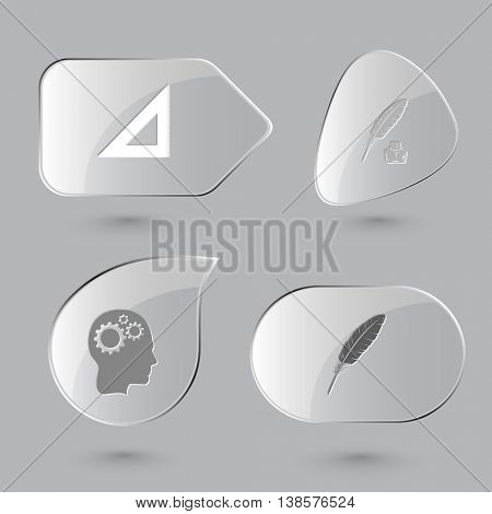 4 images: triangle ruler, feather and ink bottle, human brain. Education set. Glass buttons on gray background. Vector icons.