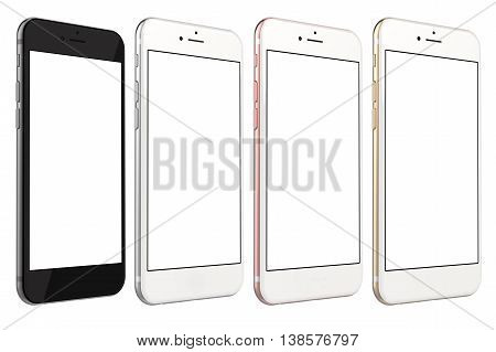 Set of four smartphones gold, rose, silver and black with blank screen, isolated on white background. Real camera, high resolution, detailed illustration. 3d rendering.