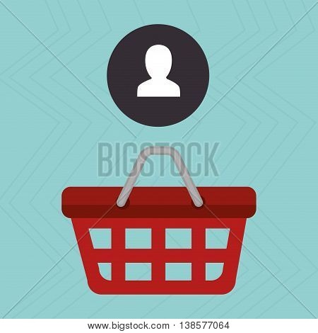 red basket and silhouette head isolated icon design, vector illustration  graphic