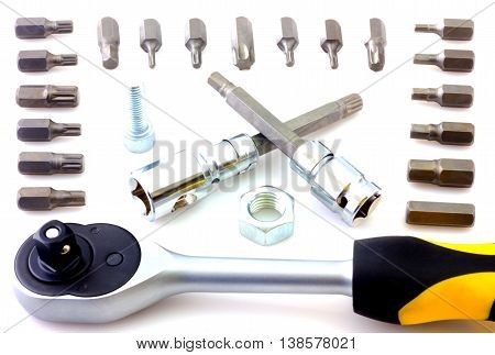 Mechanical bit tool set isolated on white background