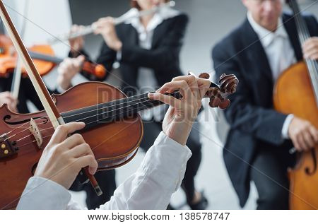 Classical Orchestra String Section Performing