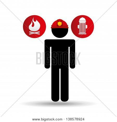 firefighter job man standing icon, vector illustration