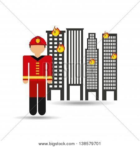 firefighter job in a city in flames icon, vector illustration