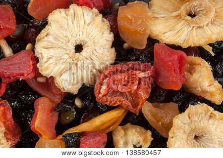 Dried fruits background. Food concept photo in studio