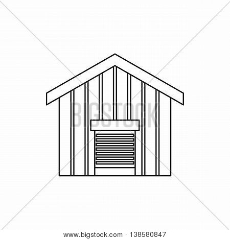 Large barn icon in outline style. Building symbol isolated vector illustration