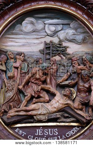 PLETERJE, SLOVENIA - NOVEMBER 06: 11th Stations of the Cross, Crucifixion, Carthusian monastery in Pleterje, Slovenia on November 06, 2015.