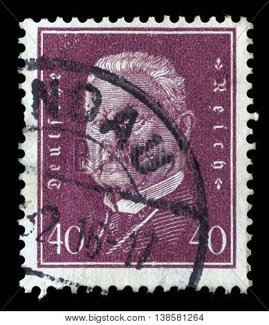 ZAGREB, CROATIA - JUNE 22: A stamp printed in the German Reich shows Paul von Hindenburg (1847-1934), 2nd President of the German Reich, circa 1928, on June 22, 2014, Zagreb, Croatia