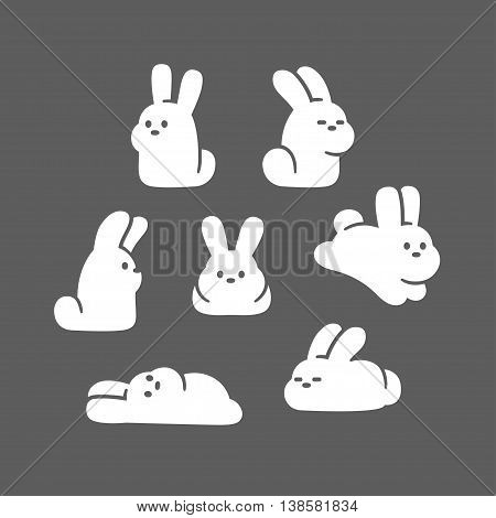 Cute cartoon rabbit characters set. Simple and adorable hand drawn white bunnies in different poses. Vector illustration.
