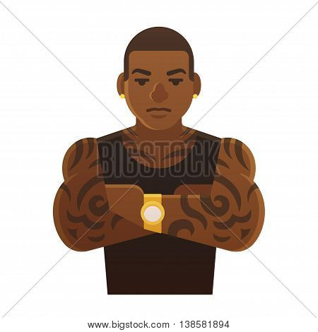 Young tattoed black man with arms crossed. Athlete hip hop singer or gang member. Flat cartoon style vector illustration.