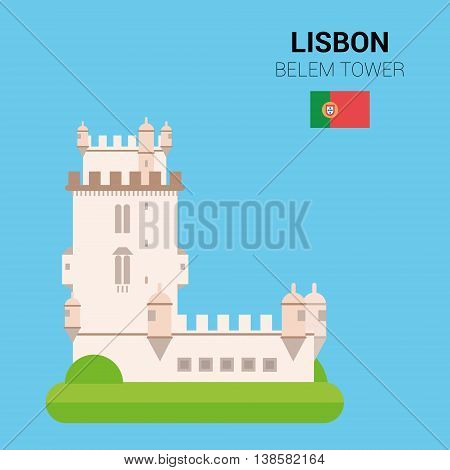 Monuments and landmarks Vector Collection: Belem Tower. Descripción: Vector illustration of Belem Tower (Lisbon, Portugal). Monuments and landmarks Collection. EPS 10 file compatible and editable.
