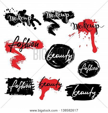 Set Of Vector Labels, Badges, Banners With Makeup Lettering. Cal