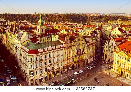Old Town Square in eastern european Czech capital Prague - view from Town Hall