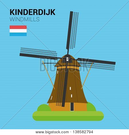Monuments and landmarks Vector Collection: Kinderdijk Windmills. Descripción: Vector illustration of Kinderdijk Windmills (Kinderdijk, Netherlands). Monuments and landmarks Collection. EPS 10 file compatible and editable.