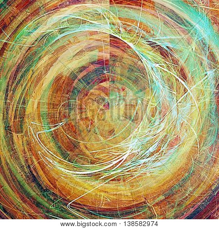 Spherical old style design, textured grunge background with different color patterns: yellow (beige); green; blue; cyan; red (orange); pink