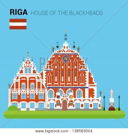 Monuments and landmarks Vector Collection: House of the Blackheads. Descripción: Vector illustration of House of the Blackheads (Riga, Latvia). Monuments and landmarks Collection. EPS 10 file compatible and editable.