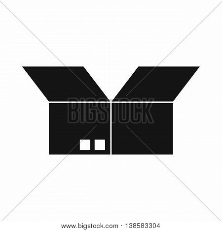Opened cardboard box icon in simple style isolated vector illustration
