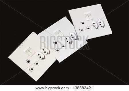Three  Multipurpose Wall Mount Electric Sockets And Switches