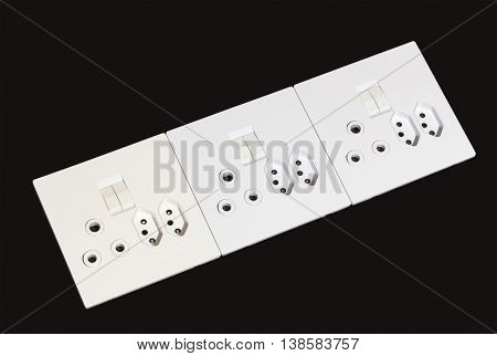 Beige And White Multipurpose Electric Wall Mount Sockets