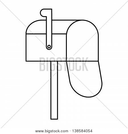 Open mailbox icon in outline style isolated vector illustration