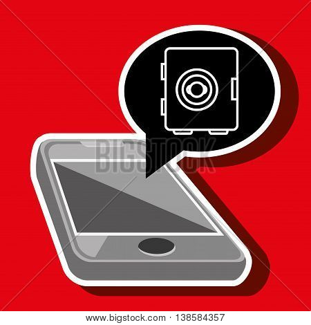 smartphone with safe box isolated icon design, vector illustration  graphic