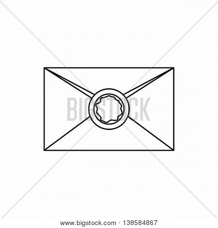 Envelope with red wax seal icon in outline style isolated vector illustration