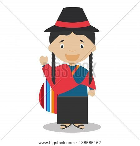 Character from Ecuador dressed in the traditional way Vector Illustration. Kids of the World Collection.