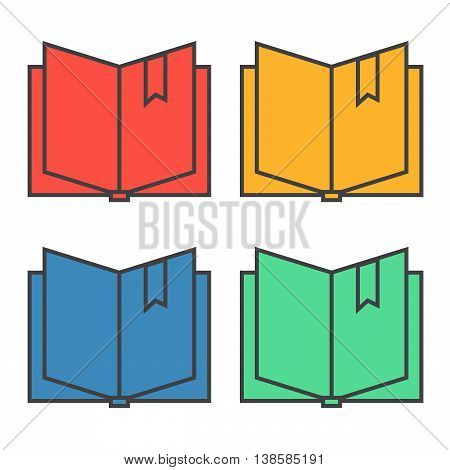 Open book with bookmark icon eps 10