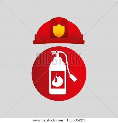 firefighter job with Fire extinguisher icon, vector illustration