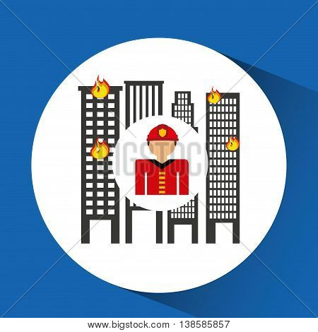 firefighter job and fire truck icon, vector illustration
