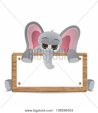 cute cartoon elephant peek behind text box