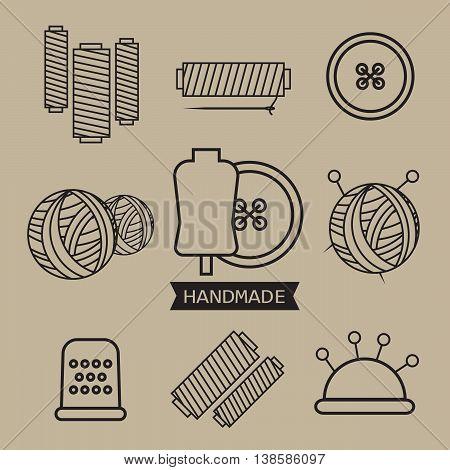 Handmade line vintage logo set. Handmade retro badges eps10