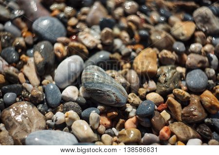 Pebble texture close up on the Mediterranean beach very shallow depth of field