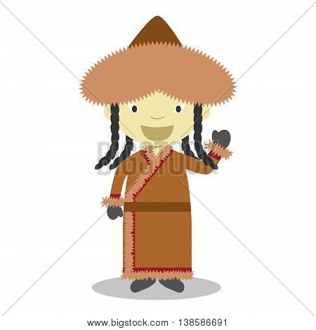 Character from Mongolia dressed in the traditional way Vector Illustration. Kids of the World Collection.