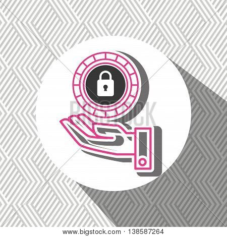 hand and padlock isolated icon design, vector illustration  graphic