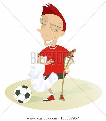 Injured football player. Funny football player with bandage on the foot and crutch