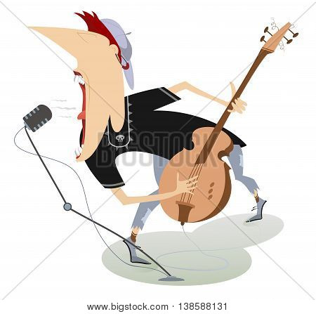 Let there be rock. Guitarist is playing music and singing with the great inspiration