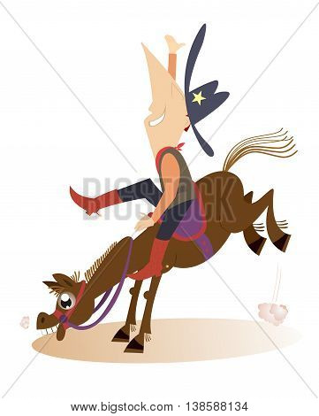 Rodeo. Man or cowboy is riding on the horse